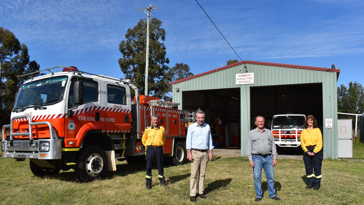 Bonalbo RFS captain John Tart, Page MP Kevin Hogan, Kyogle Council councillor Earle Grundy and Bonalbo RFS treasurer Helen Tart at the station which will be upgraded to included a training facility.