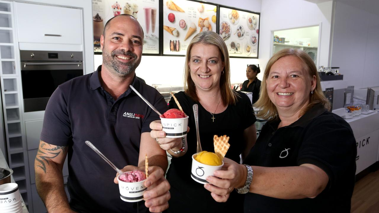Anglicare get set for work progam team members Josh Flaherty, Sue Walton and Theresa Roberts in the Movenpick store where they get young people ready for the workforce. PICTURE: ANNA ROGERS