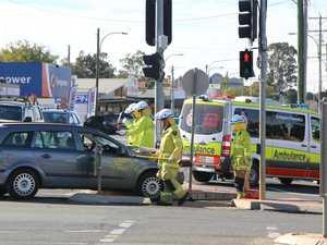 VISION: Car smashes into ambulance in Kingaroy