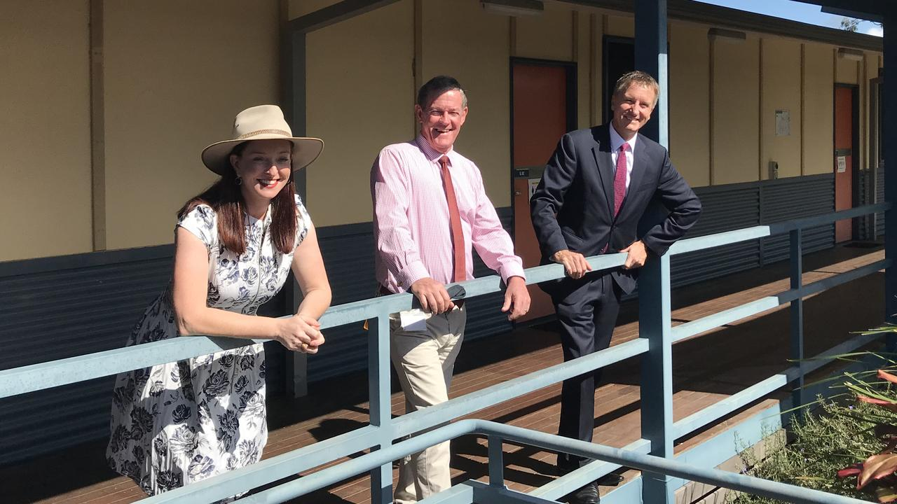 Keppel MP Brittany Lauga, Livingstone Mayor Andy Ireland and CQUniversity Vice Chancellor, Professor Nick Klomp at the former CQUniversity Yeppoon campus