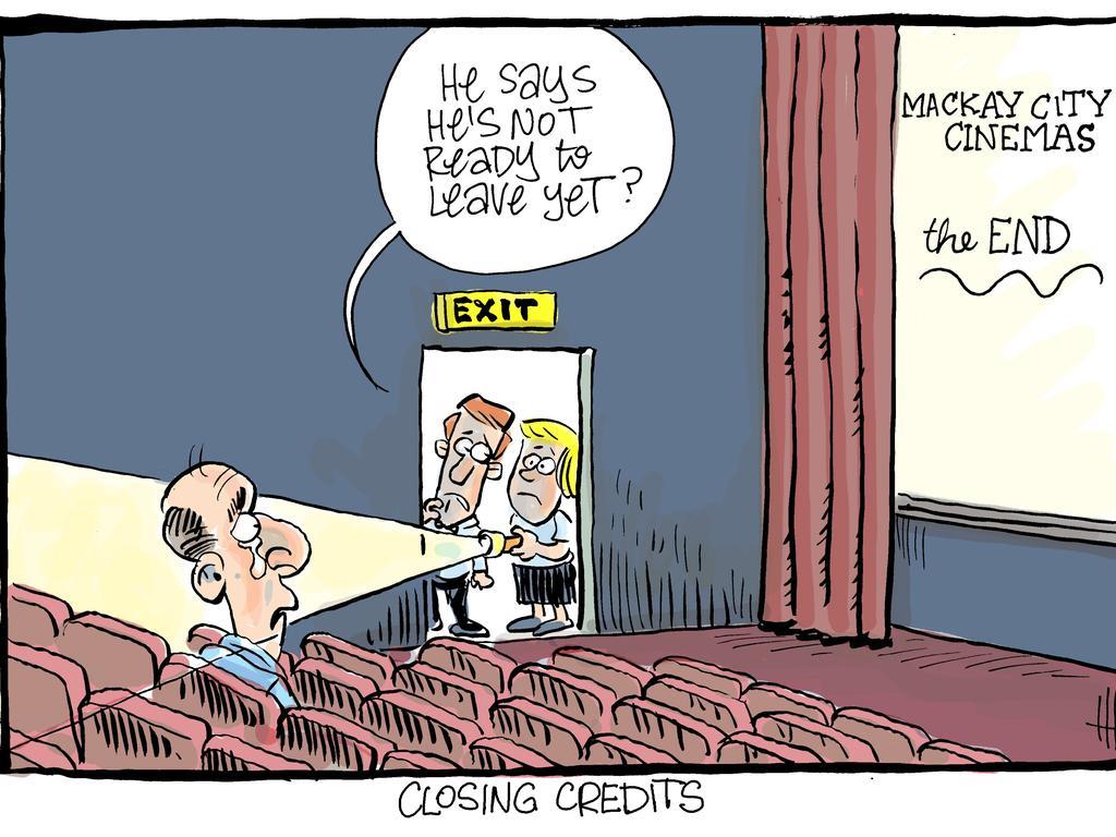 Harry Bruce cartoon Wednesday Dec 11. Mackay City BCC Cinema closes.