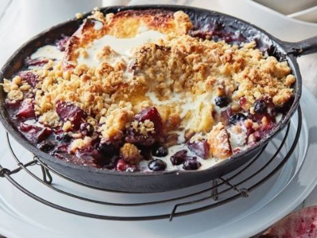 Apple and blueberry bread and butter crumble. Picture: delicious.