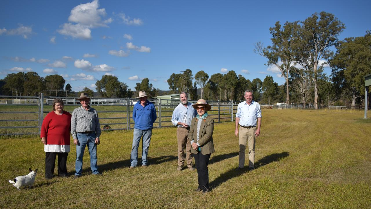 Marilyn and Cr Earle Grundy, Tim Dougherty, Des Reay, Page MP Kevin Hogan and Jan Mills at the Tabulam Campdraft.