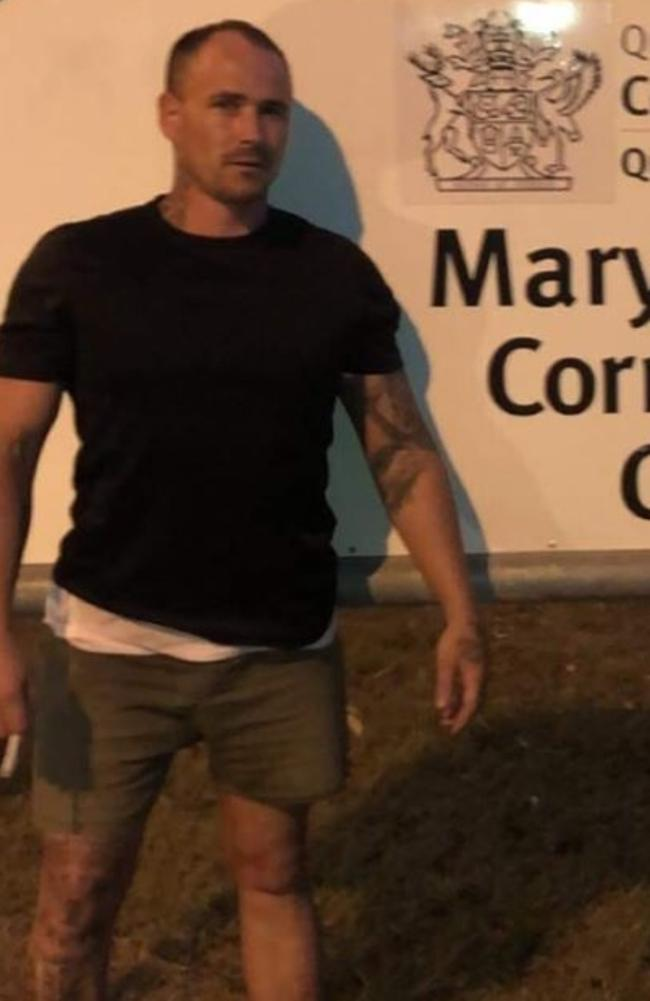 "Philip Brenton Baker shared a photo on Facebook of him posing out the front of Maryborough Correctional Centre with a comment ""Just got out lol"". Picture: Facebook"