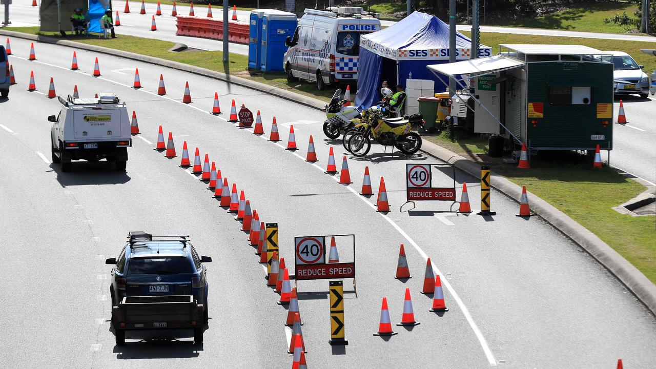 Police at border checkpoints in Coolangatta due to the Covid 19 pandemic. Pic: Adam Head