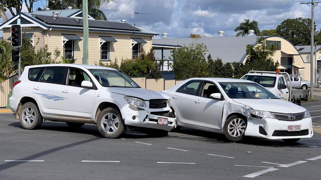 A two-car crash on the corner of Pallas and Walker St in Maryborough.