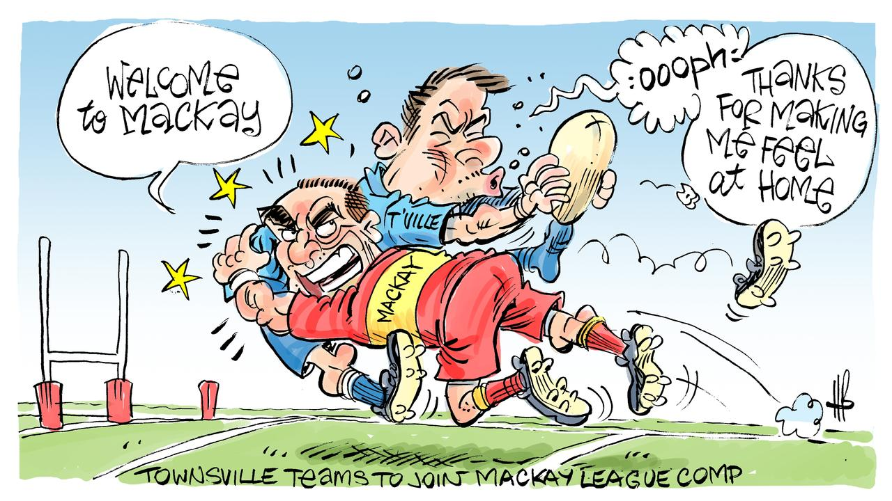 Mackay rugby league v Townsville rugby league. Cartoon: Harry Bruce