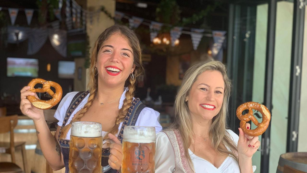 Bavarian Mackay employees Victoria Buono and Mariana Oman ahead of Oktoberfest last year.
