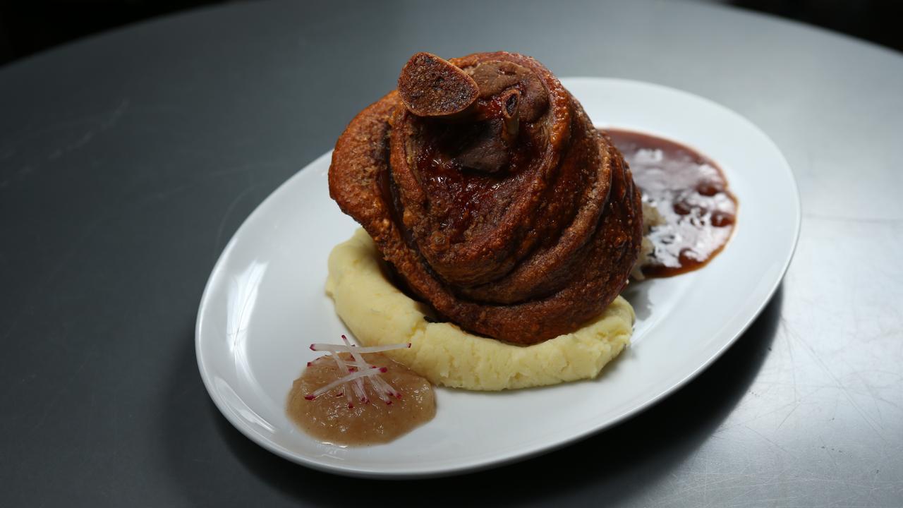 The Bavarian's famous crispy pork knuckle.