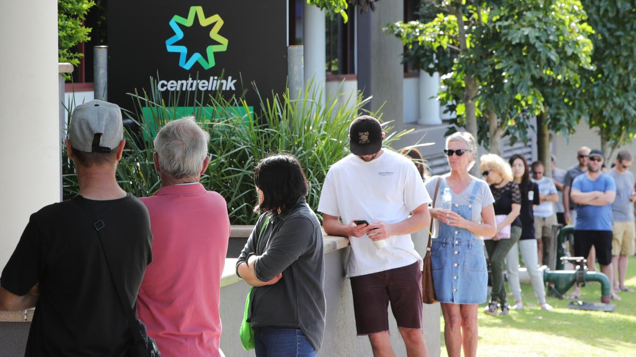 Many Australians have had to join unemployment lines due to the coronavirus pandemic. Picture Glenn Hampson