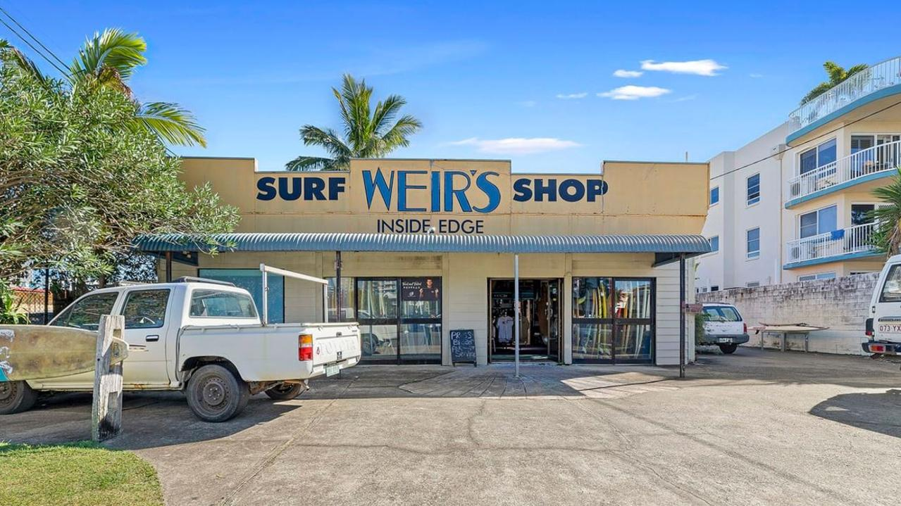 14 Memorial Dr, Cotton Tree has hit the market for the first time in decades stirring interest from local and interstate buyers. It is currently home to the Weir's Surf Shop.