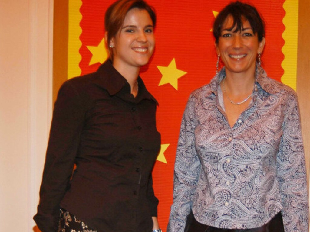 Ghislaine Maxwell with Jeffrey Epstein's assistant, Sarah Kellen (left). Picture: Supplied