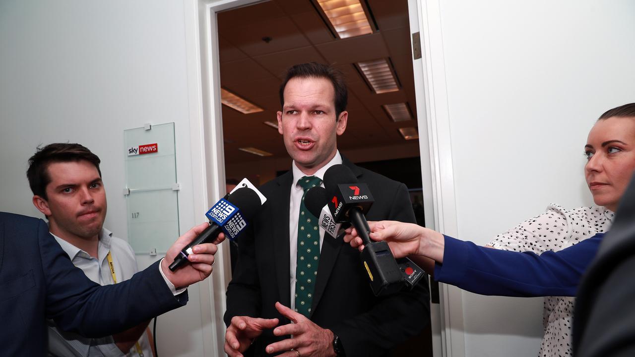 Senator Matt Canavan during a doorstop at Parliament House in Canberra. Picture Gary Ramage