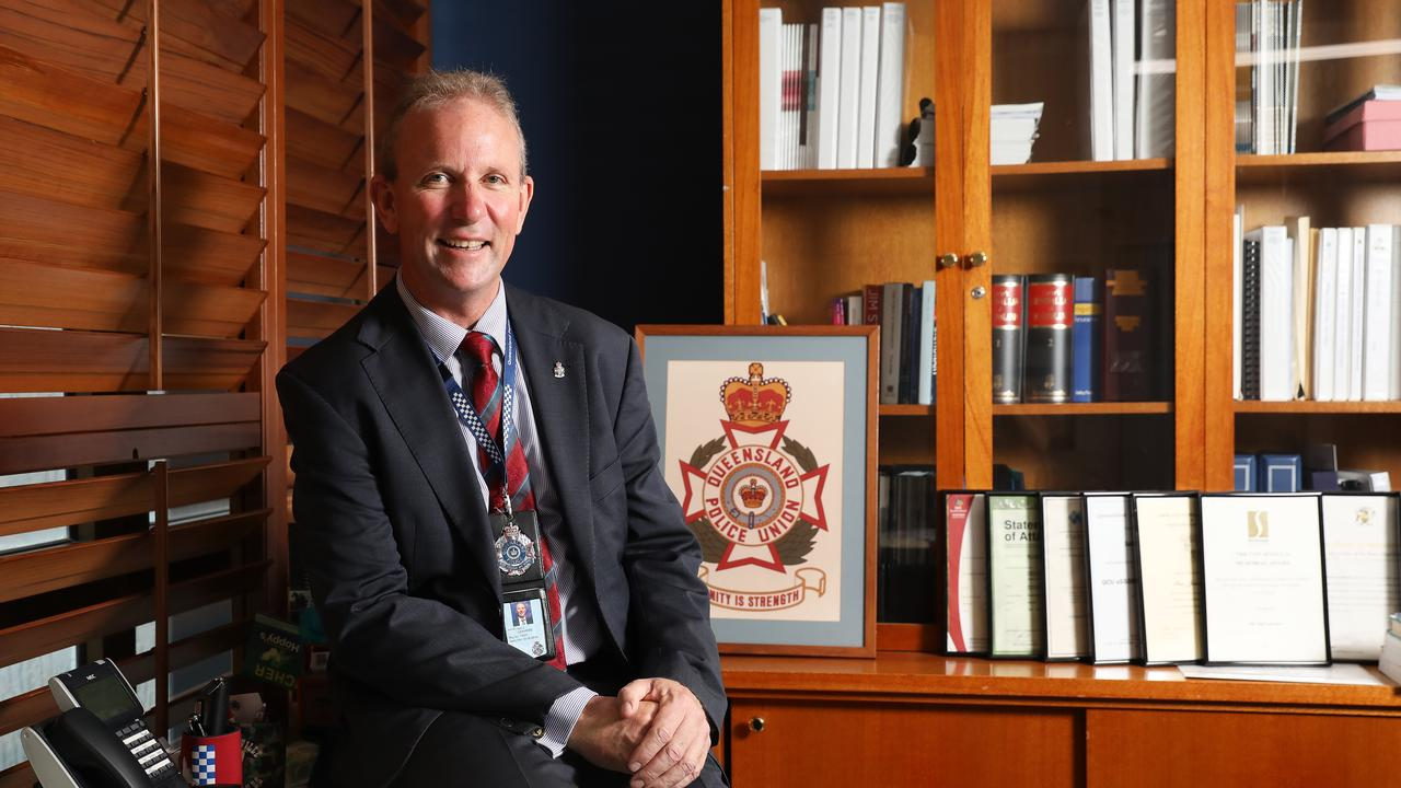 Queensland Police Union president Ian Leavers announces COVID-19 leave and one-off cash payment for members. Picture: AAP Image/Claudia Baxter