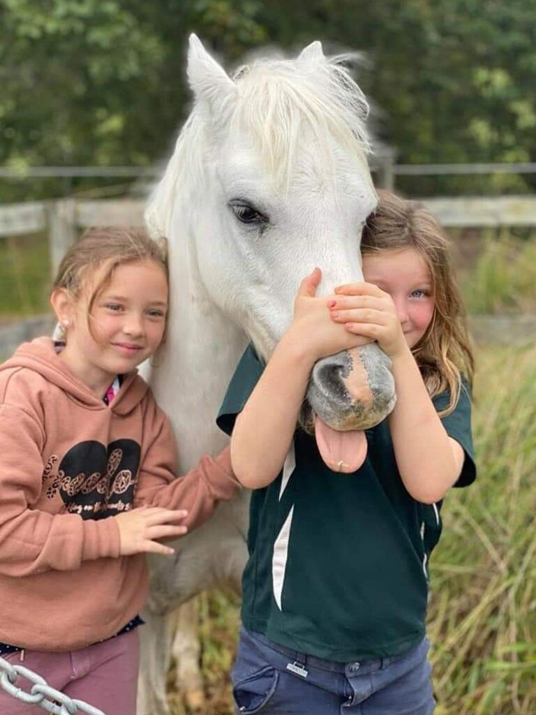 Zoe Kronk and Iris Jenkins spending time at the Yandina and Districts Pony Club.
