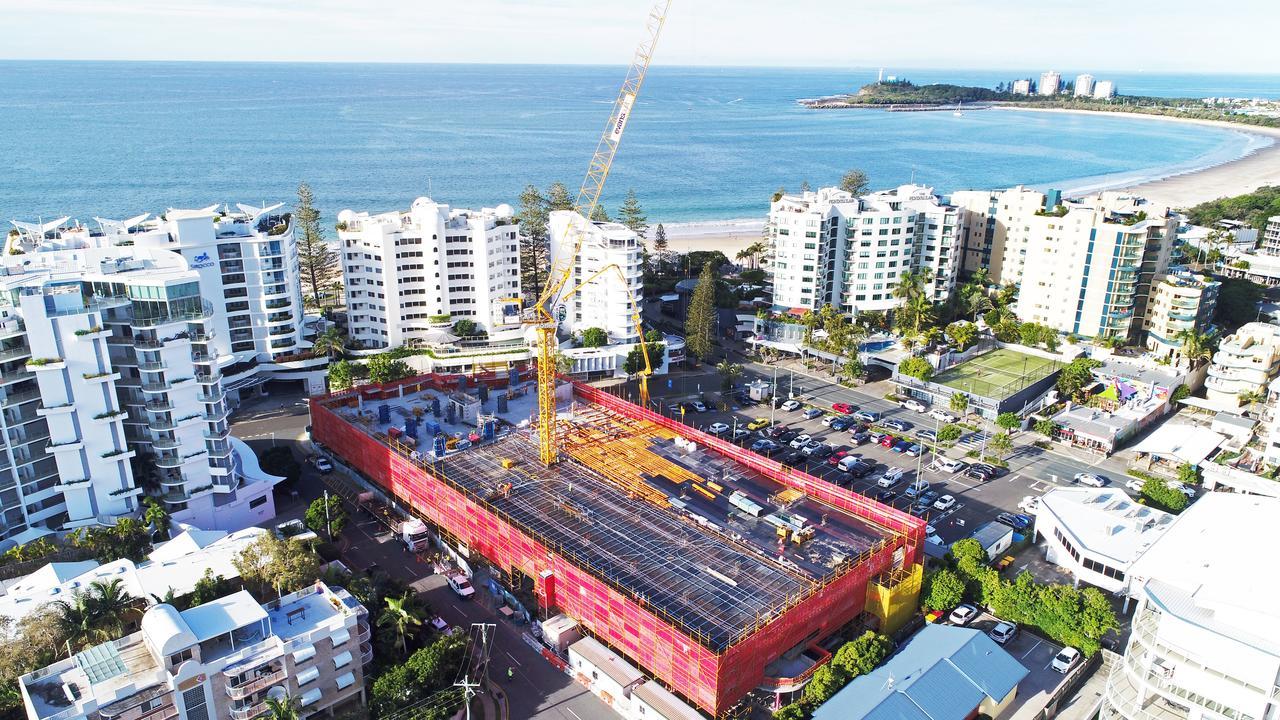 Brisbane Rd carpark construction, Mooloolaba. Photo: Patrick Woods / Sunshine Coast Daily.
