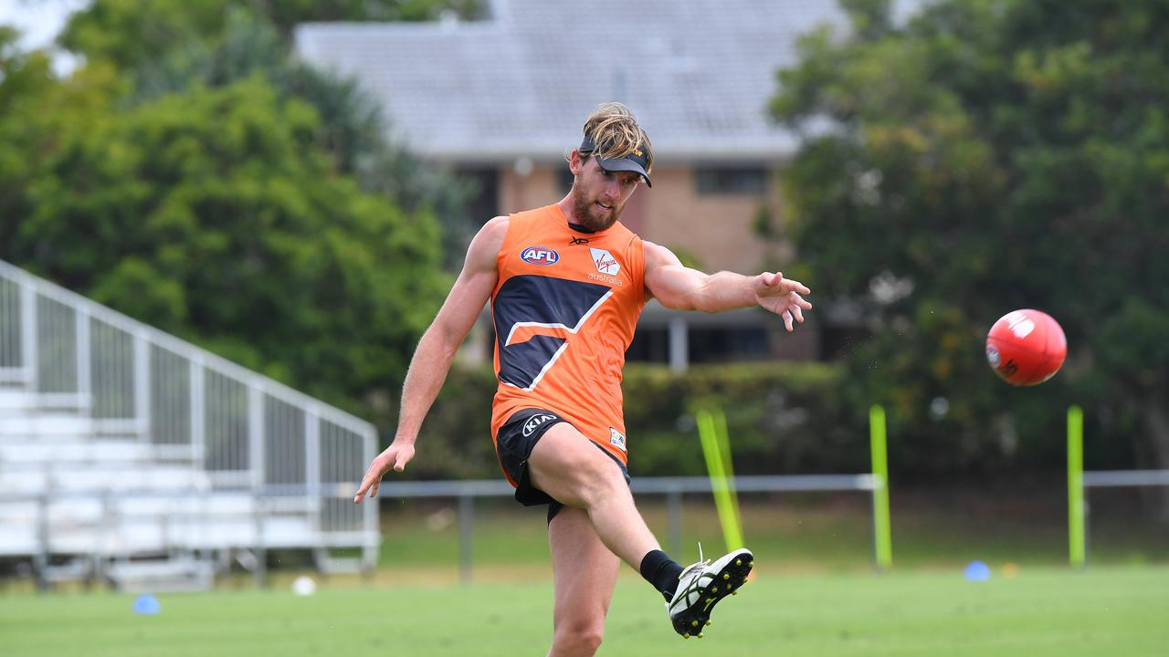 GWS Giants training at the Maroochydore Multi Sports Complex. Lachlan Keeffe training with the team. Photo: Warren Lynam