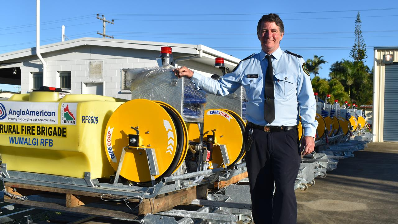 Rural Fire Service Mackay area director Andrew Houley with the 'slip-on' units for the Isaac region donated by Anglo American. Picture: Heidi Petith