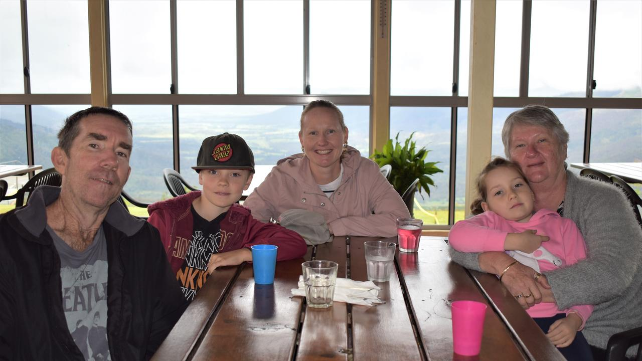 Enjoying a meal at the Eungella Chalet after sighting the platypus at Broken River were Scott Cousen, Riley Cousen, 9, Katherine Cousen, Margaret (Nanna) Beddows and Mia Cousens, 7. Picture: Heidi Petith
