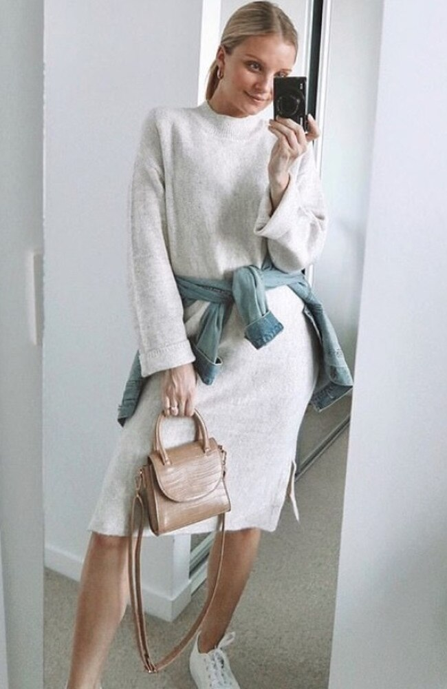 Fashion blogger Jess Allen poses in the $25 Crew Neck knit dress from Kmart. Picture: Kmart
