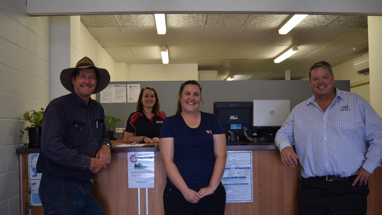 (From left) Bowen Gumlu Growers Association president Carl Walker, QITE Harvest Trail Services staff member Danielle James, Harvest Trail Services manager Keely van Wensveen and Whitsunday Regional Council Mayor Andrew Willcox at the opening of the new QITE office on Williams St. Picture: Elyse Wurm