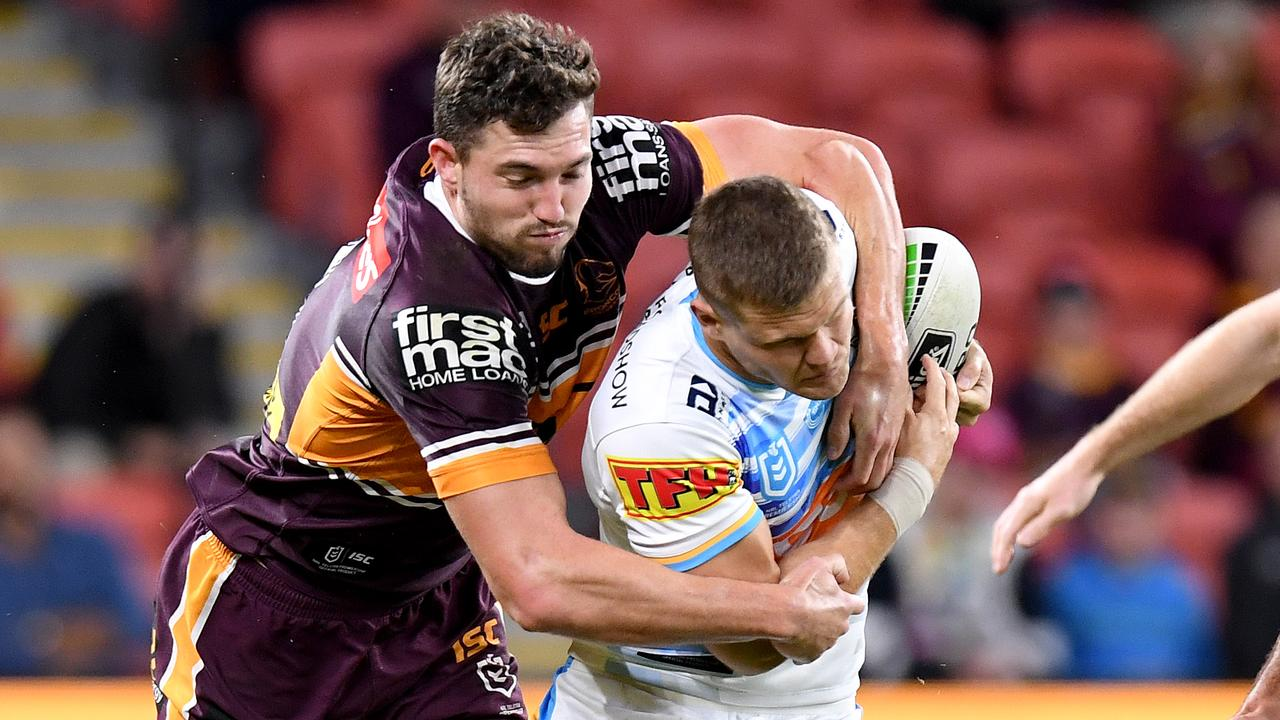 Oates tries to take down the Titans' Dale Copley in their round seven clash. Picture: Bradley Kanaris/Getty Images