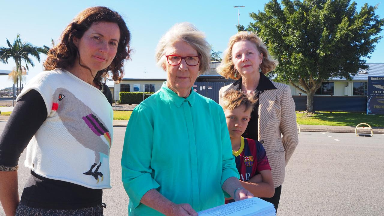Liz Moore, Vivien Griffin, Mac Moore, 8 and Lynne Saunders want Airservices to reconsider the new flight path over the Sunshine Coast. Photo: Tegan Annett