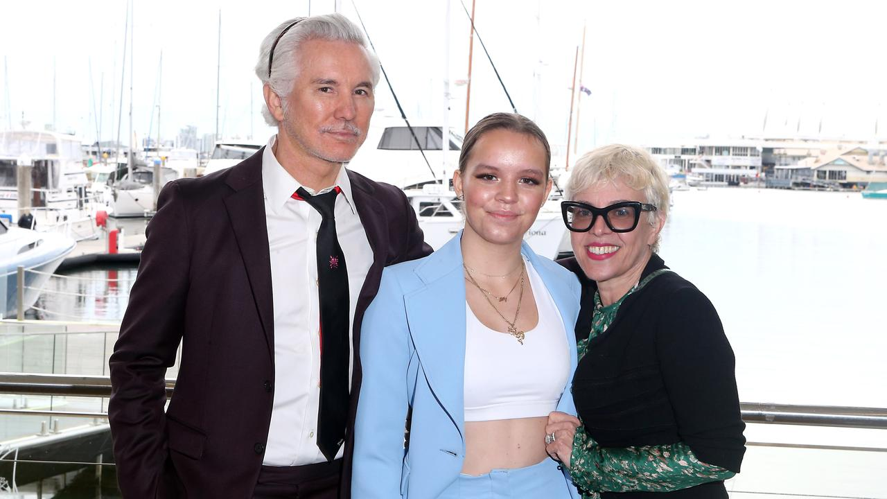 Lilly Luhrmann with her famous parents Baz and Catherine. Picture: Richard Gosling