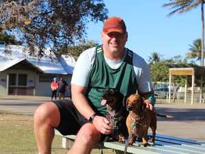 BEACH VIEWS: Adam Wratten takes his dogs Winston and