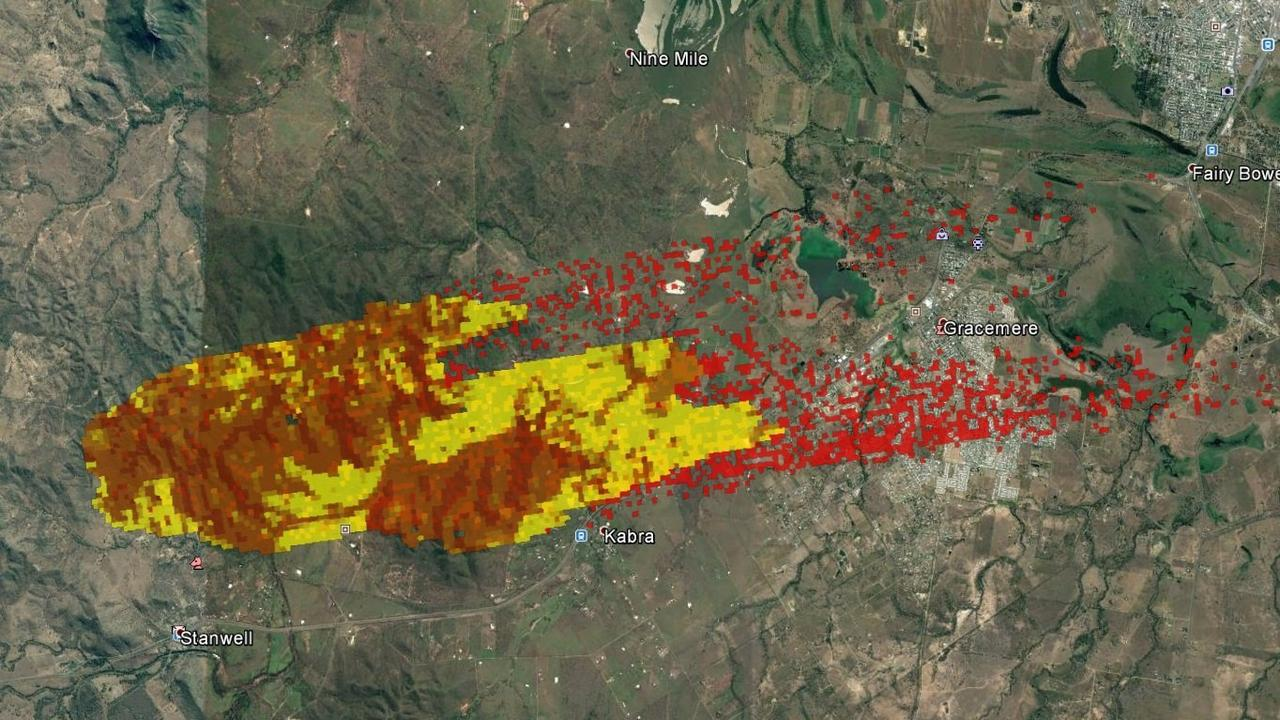 The predicted path of the Stanwell fire which forced the evacuation of over 8000 people from Kabra, Gracemere and the surrounding areas. .