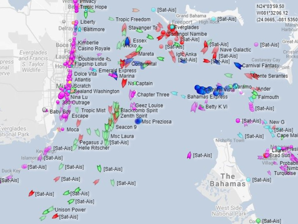 Vessels in the stretch of sea between the coast of Florida and the Bahamas. Picture: Cruise Ship Tracker