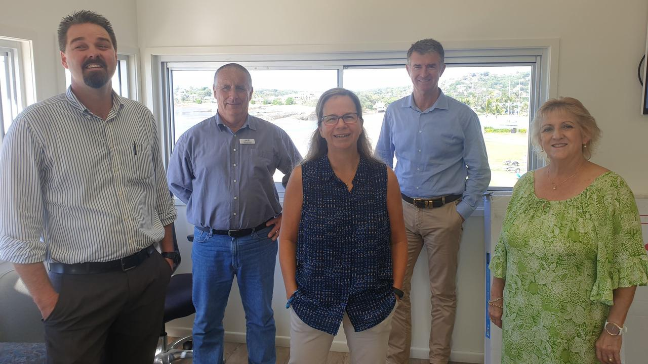 PROJECT UPDATE: Director of Keppel Bay Sailing Club Sandra Byrt (centre), discussed their plans to build a convention centre with LNP Candidate for Keppel Adrian de Groot, Deputy Opposition Leader Tim Mander and Capricornia MP Michelle Landry.
