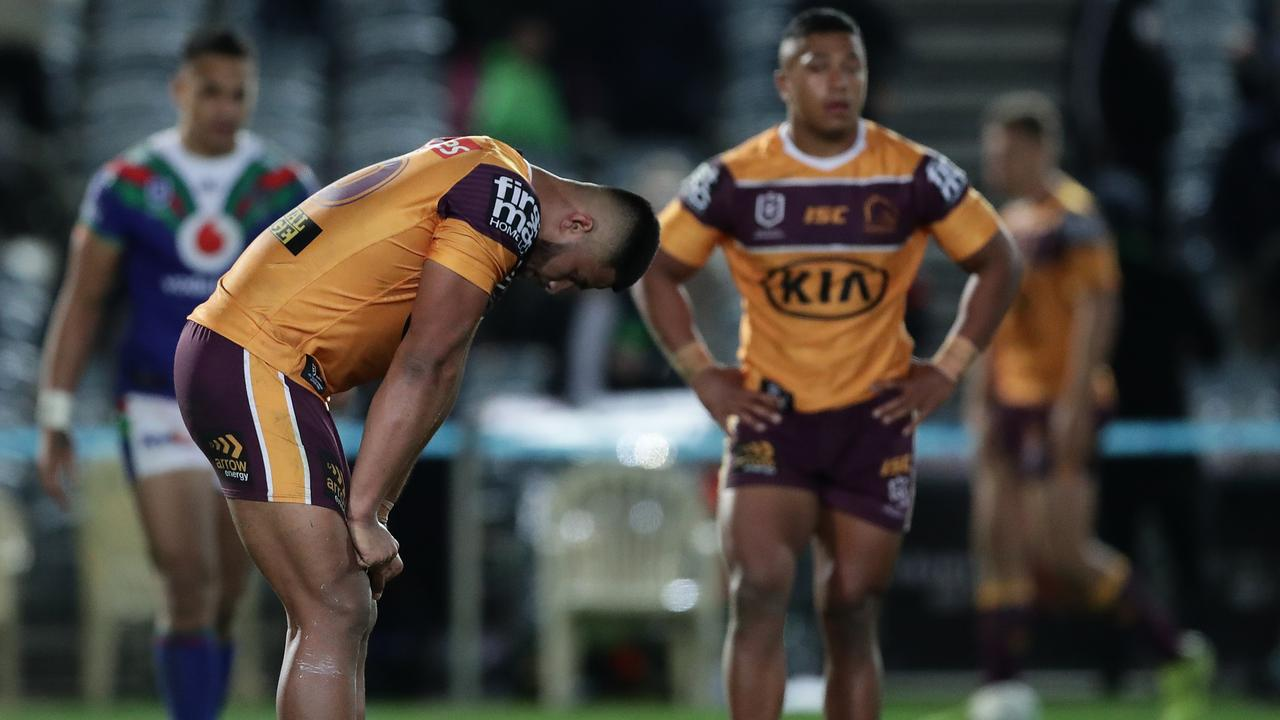 The Broncos' horror season continued against the Warriors. Picture: Getty Images