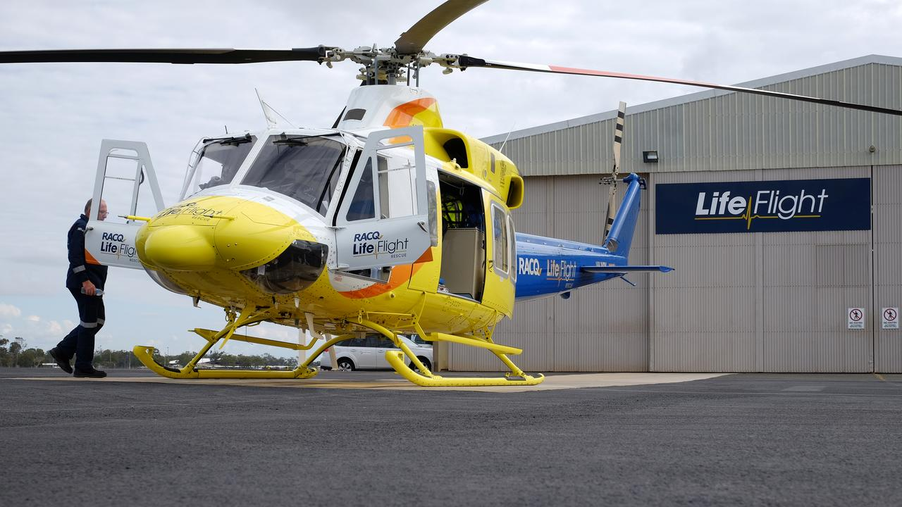 The RACQ LifeFlight rescue helicopter prepares for take-off at Bundaberg Airport.