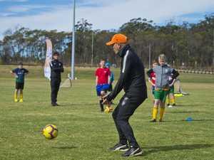 Stef Hlaca coaching during the Brisbane Roar Academy