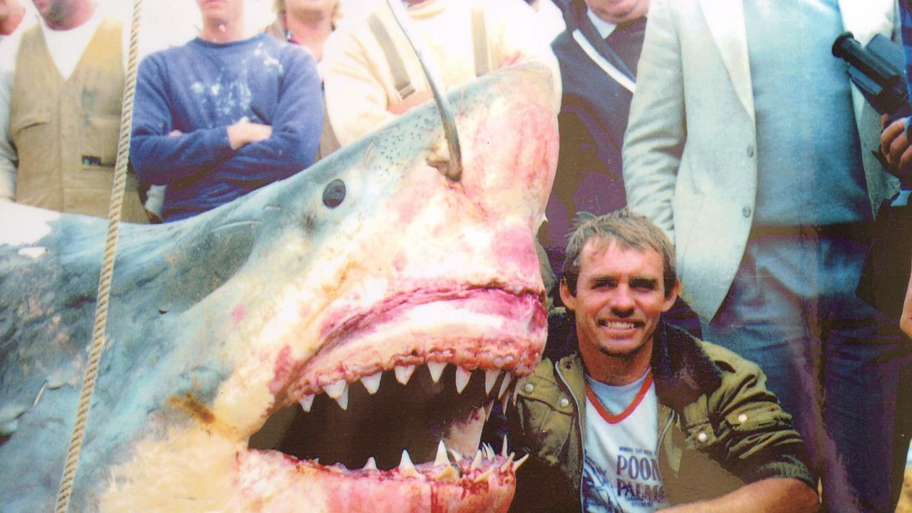 Vic with his record great white, caught near Phillip Island.