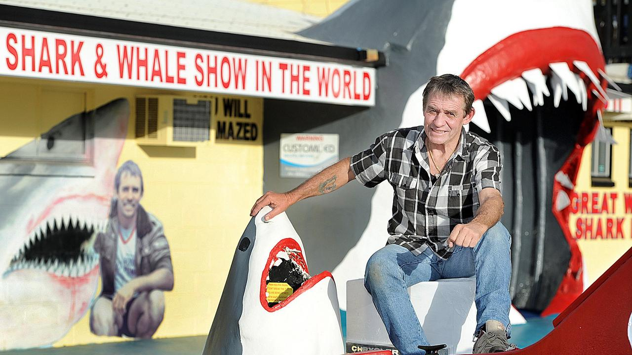 Vic Hislop out the front of his newly reopened shark show in 2013.Photo: Alistair Brightman / Fraser Coast Chronicle