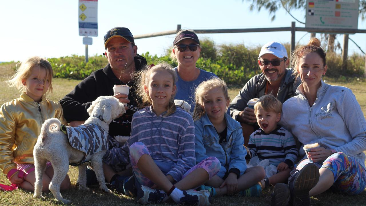 FAMILY OUTING: Maria Dunkley, Phil Dunkley, Les Allwood, Sam Allwood, Isla Allwood, Zaya Allwood, Tahli Allwood, Sawyer Allwood with dogs Harley and Kobi Dunkley enjoying the view at Bargara.
