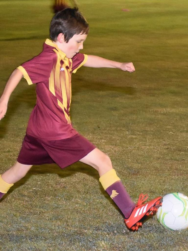 A Colleges United Football Club under-10 Komodo player works on his skills during a recent training session. Picture: Gary Reid