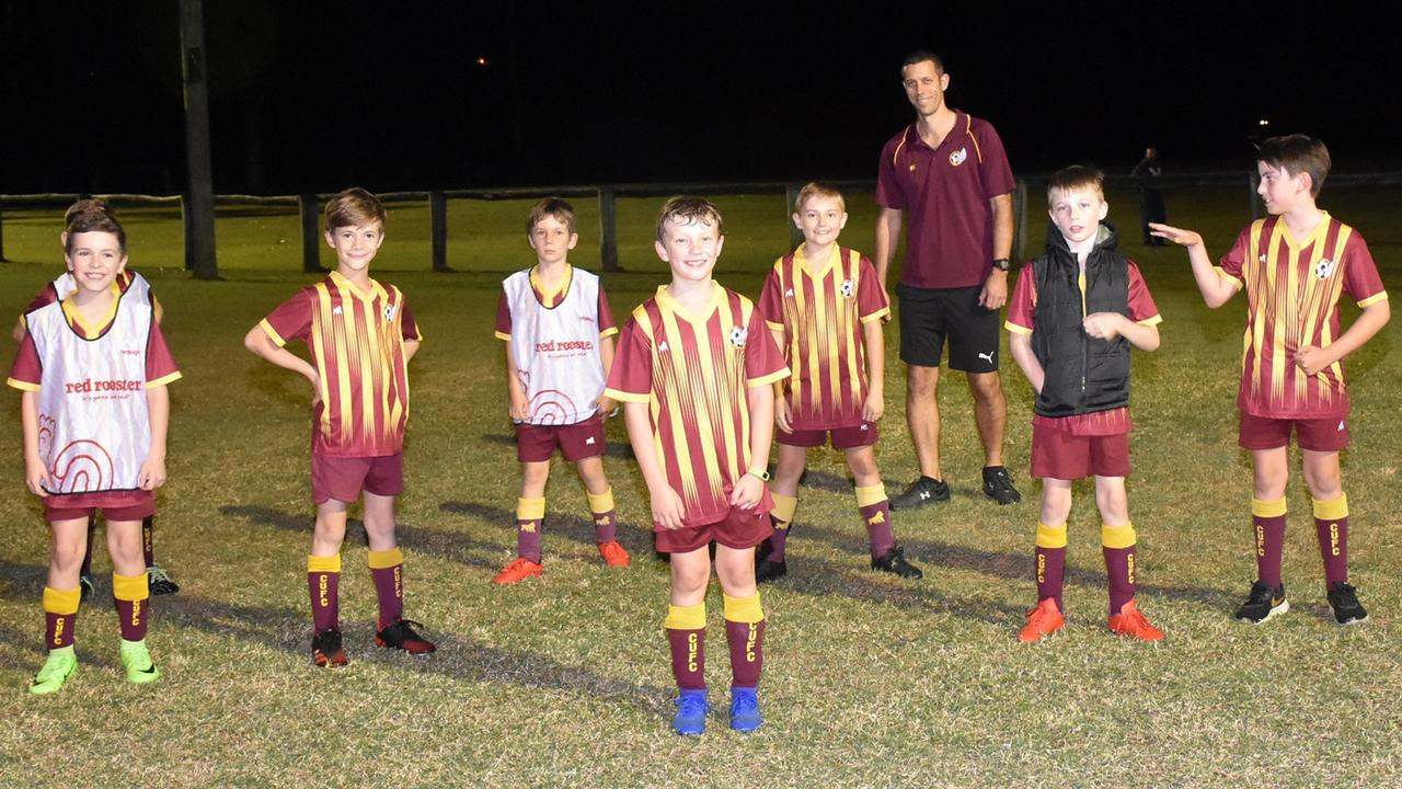 Players in the Colleges United Football Club under-10 Komodo team prepare to get in some valuable training for when the season resumes. Picture: Gary Reid