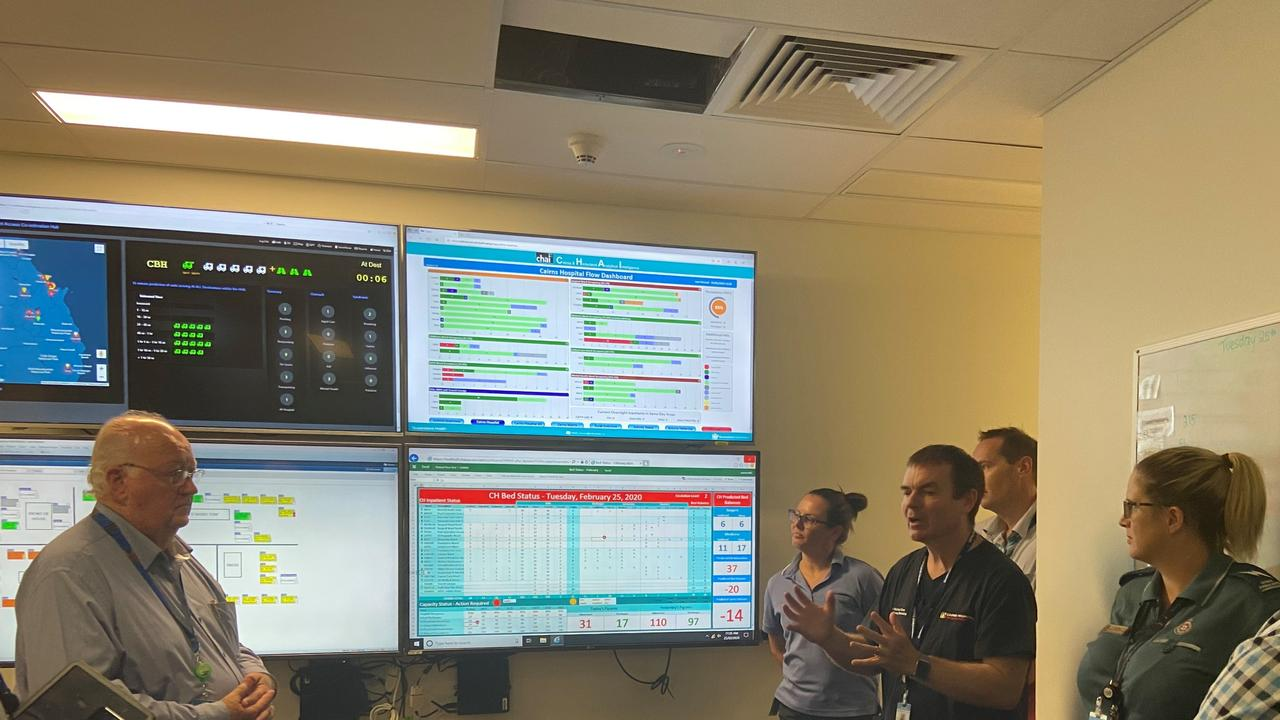 CHHHS director of emergency medicine, Dr Richard Stone (third from left), showcases the CPACH (Cairns Patient Access Co-ordination Hub) for CHHHS board chairman Clive Skarott (far left)