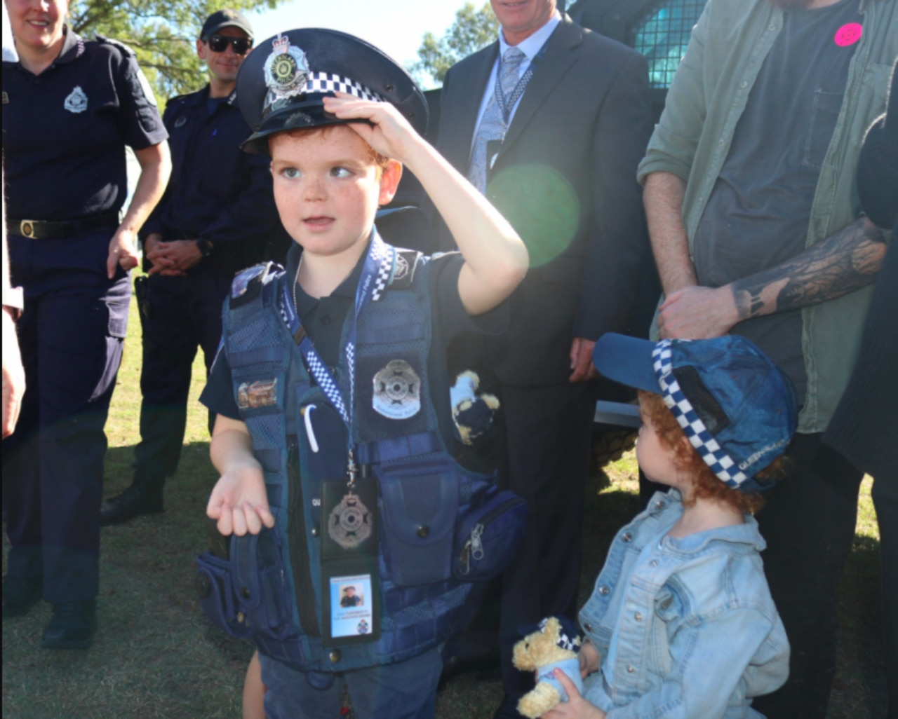 The little officer who wants to fight crime has been fighting his own battle.
