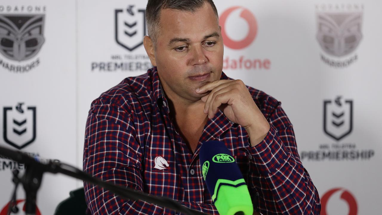 Broncos coach Anthony Seibold speaks at a press conference after the round eight NRL match between the New Zealand Warriors and the Brisbane Broncos at Central Coast Stadium on July 04, 2020 in Gosford, Australia. (Photo by Mark Metcalfe/Getty Images)