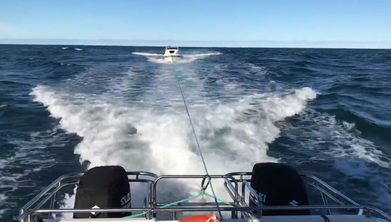 Marine Rescue Evans Head responded after a 5m vessel failed to start, with three people on board.