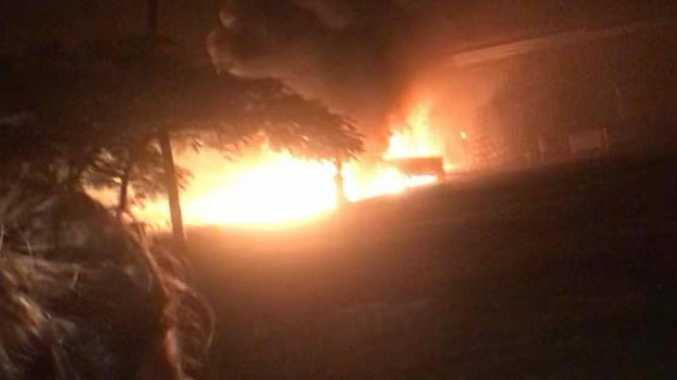 WATCH: Moment blaze engulfs rural shed filmed by partygoers