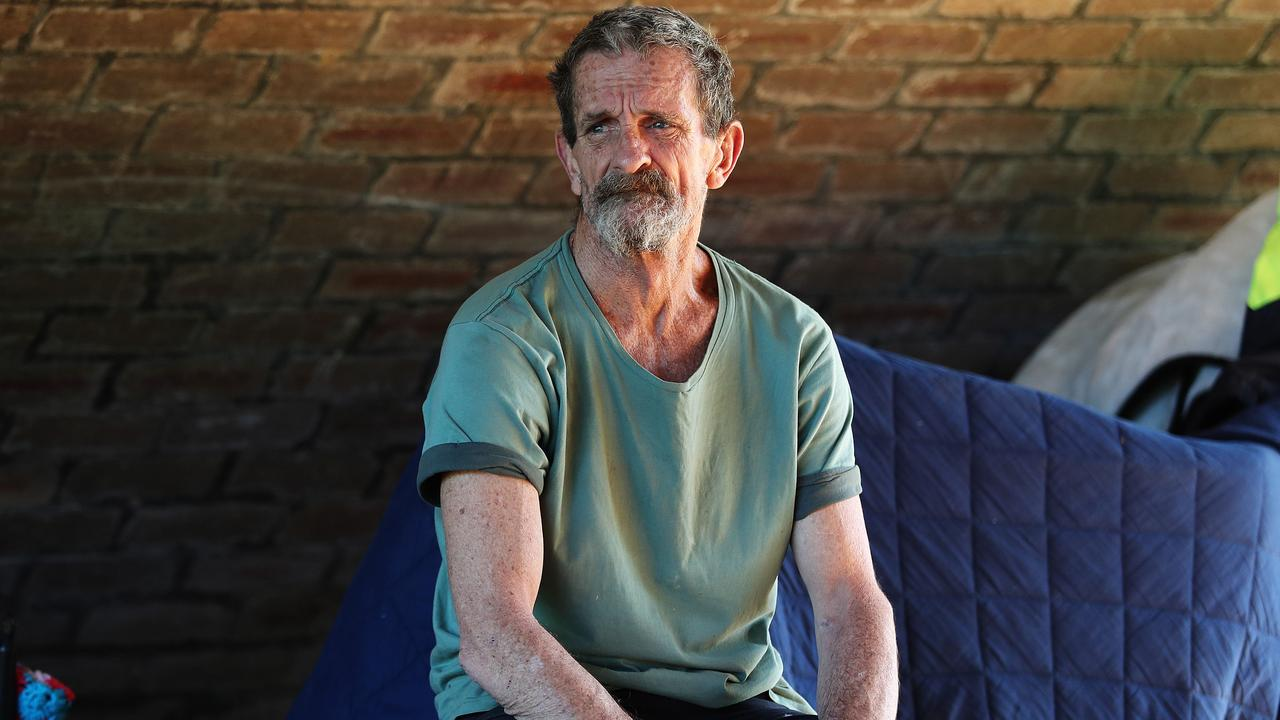 Homeless man Raymond Griffiths says homelessness is too big an industry for MPs to really want to fix it. Picture: Brett Costello