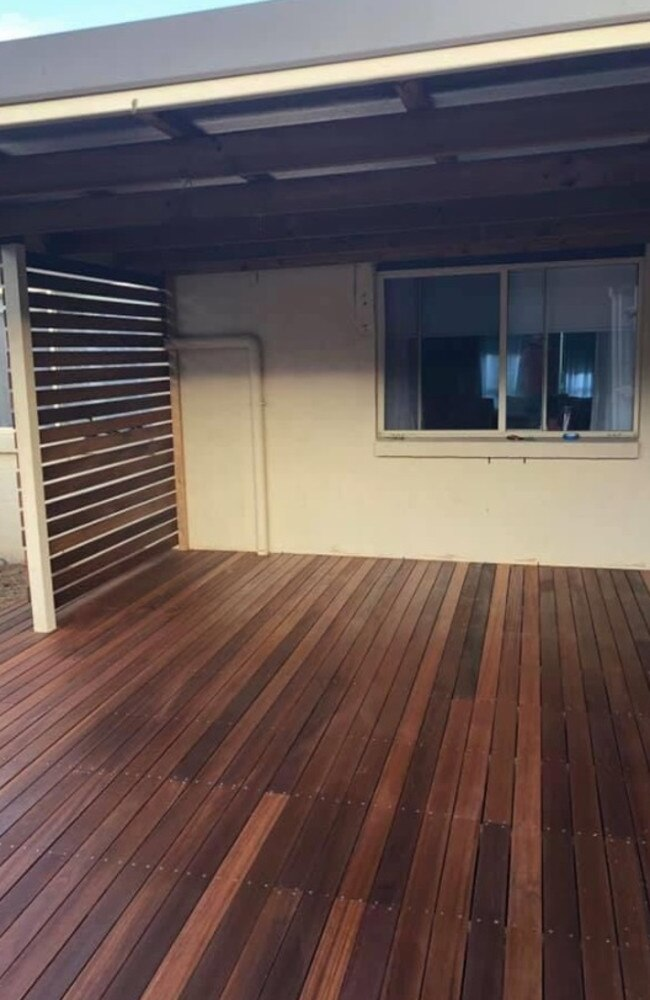 The family also bought the wooden flooring from Bunnings, costing $5000.
