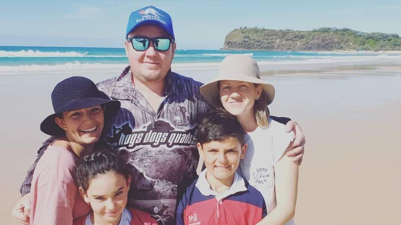 FAMILY: Kayla, Sienna, Taj, Rob and Tab Tratt at the end of their Fraser Island holiday.