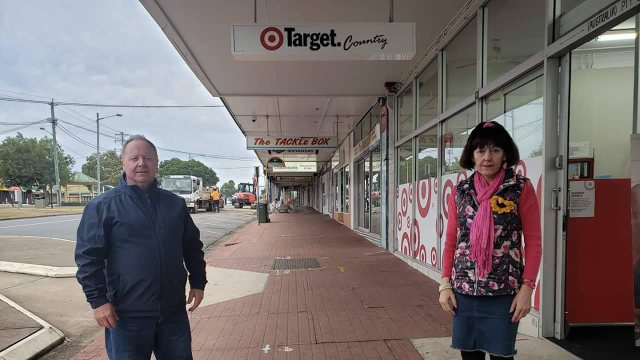 STANDING FIRM: Mayor Brett Otto and Councillor Kathy Duff at the Murgon Country Target. Murgon and Cherbourg depend on the Target Country store, says Cr Kathy Duff. PICTURE: Contributed