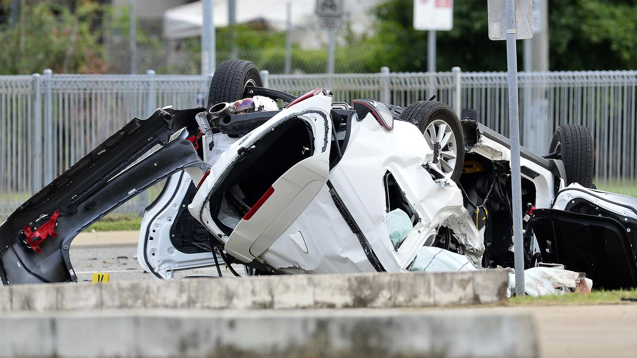 Four teenagers were killed when the allegedly stolen car they were travelling in crashed and hit a light pole on June 7. PICTURE: MATT TAYLOR